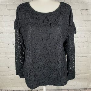 Juicy Couture Long Sleeve Crochet top Size L